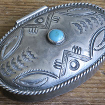 "2606 Navajo Pill Box Zuni Trading Post c.1930-60 1.5x2.25"" $295"