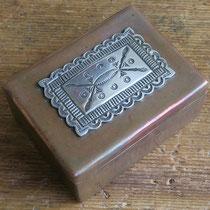 """5082 Navajo copper box w/silver medallion c.1950 3x2x1"""" $550"""