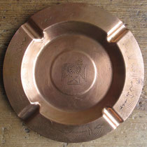 "3445 navajo copper die stamped trading post ash tray c.1950, 5.75"" $95"