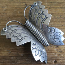 "1435 Navajo Butterfly Pin Zuni Trading Post 2.25x2"" $250"