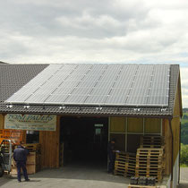 alkaSOL / EST project: alkaSOL PV-modules on store in Tann, Bavaria