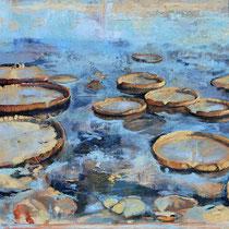 Seerosen, 2010, Öl auf Leinwand, 100 x 140 cm