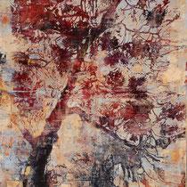 Pinie , 2014, Öl/Holzschnitt auf Leinwand, 160 x 100 cm, *