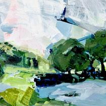 landschaft mit bäumen - acryl auf leinwand,  H 85 x B 160 cm