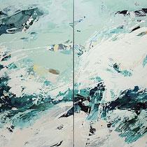 wilde brandung - acryl auf leinwand,  H 110 x B 180 cm