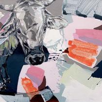 kuh im farbfeld I - acryl/mischtechnik auf leinwand, H 110 x B 140 cm