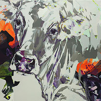 kuh vor lila II - acryl/mischtechnik auf leinwand,  H 90 x B 110 cm