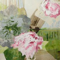floral rot-grau - acryl auf leinwand, H 100 x B 130 cm