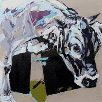 kleine kuh I - acryl/mischtechnik auf leinwand, H 45 x B 45 cm