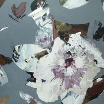 floral auf grau - acryl auf leinwand, H 100 x B 100 cm