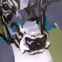 kuhkopf lila-oliv - acryl/mischtechnik auf leinwand,  H 40 x B40 cm