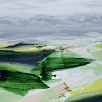 landschaft mit waldstücken - acryl auf leinwand, H 65 x B 160 cm