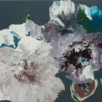 floral bordeaux-petrol - acryl auf leinwand, H 60 x B 80 cm