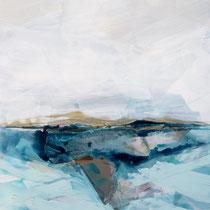 küste mit wildem meer - acryl auf leinwand, H 100 x B 100 cm