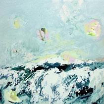 land am horizont - acryl auf leinwand, H 100 x B 100 cm