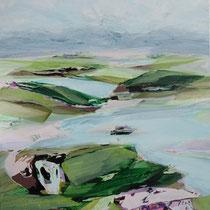 landschaft mit 2 seen - acryl auf leinwand, H160 x B 120 cm