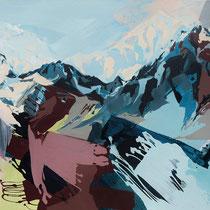 bergpanorama II-bordeaux - acryl auf leinwand,  H 95 x B 180 cm