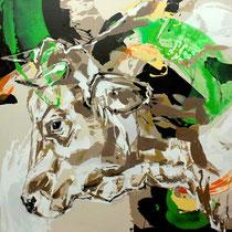kuh grün-beige - acryl/mischtechnik auf leinwand, H 125 x B 110 cm