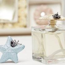 Profumatore marino con stella di mare in ceramica con particolare argento
