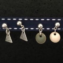 Boucles d'oreilles fillettes et femmes pour oreilles percées ou non : sequins émaillés et triangles argentés 12€
