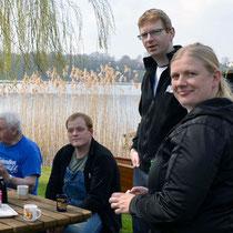 Verdiente Kaffeepause. Wilfried, Ingolf, Jörg & Ramona.