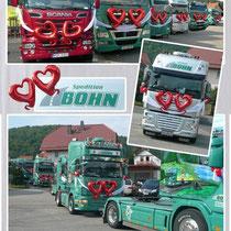 Hochzeit bei Spedition Bohn in Zeitlofs-Rupboden / LKW-Korso mit 25 LKWs