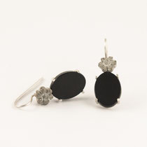 earrings, concrete, onyx, silver