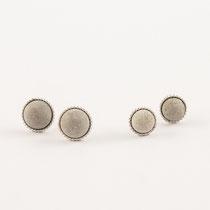 Ohrstecker rund, Silber und Beton
