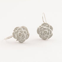 earrings, concrete flower, silver