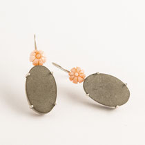 earrings, antique coral, concrete, silver