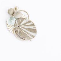 brooch, silver, aquamarin, concrete