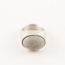 ring oval big, silver, concrete