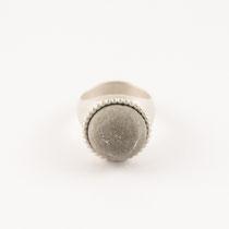 Ring rund groß, Silber, Beton