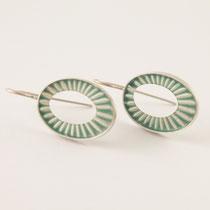 Ohrringe oval, Silber, Kunstharz