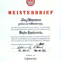 Meisterbrief Kay Wopersnow