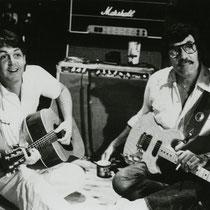 Paul McCartney and Carl Perkins at AIR Studios, Montserrat, 1981