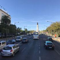 Blick auf die Praça dos Restauradores mit dem Denkmal des Restaurationskriegsmarques de pombal