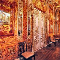St. Petersburg | Eremitage | Bernsteinzimmer | Erst 1743 unter der Regentschaft von Zarin Elisabeth im Winterpalast dauerhaft aufgebaut.