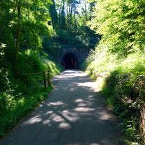 Sologny: Auf der 3. Etappe immer der stillgelegten Bahntrasse entlang. Und durch einen 1,6 km langen Ex-Bahntunnel. Tolle Abkühlung bei dieser Hitze!