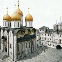 *Moskau | Kreml | «Maria Einschlafens-Kathedrale» | 1475-1479 | Architekt Aristotele Fioraanti | Rechts der «Facetten-Palast» | 1487-1591