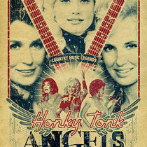 A letterpress style tribute to the Queens of Country Music, Dolly Parton, Loretta Lynn, Tammy Wynette featuring Kitty Wells.