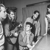 Jerry Lee Lewis, Johnny Cash, Elvis Presley and Carl Perkins