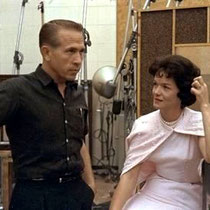 Buck Owens and Bonnie Owens recording at the Capitols Studios in the early 1960s.