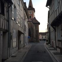 Louhans: Schnappschuss auf der 5. Etappe von Macon nach Louhans (im Hintergrund die Kirche »Saint-Pierre«.