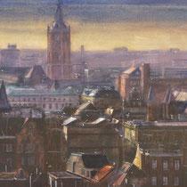 Den Haag van bovenaf. Aquarel 60 x 115 cm