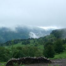 Nebel über den Vogesen am Col du Hundsruck.