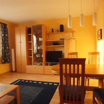 Blick auf das Wohnzimmer des Apartments