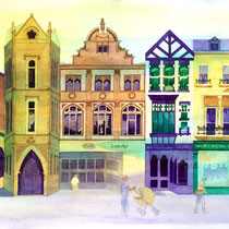 'Top Of The Shops, Buxton' Watercolour framed in white SOLD