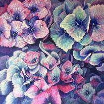 'Hydrangeas' Acrylic 40cm x 40cm £220