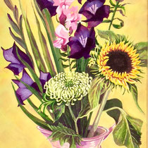 'Jug And Flowers' Acrylic framed 34cm x 95cm £250